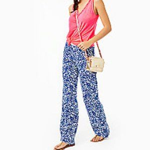 Lilly Pulitzer Beach Mid Rise Linen Palazz Pants